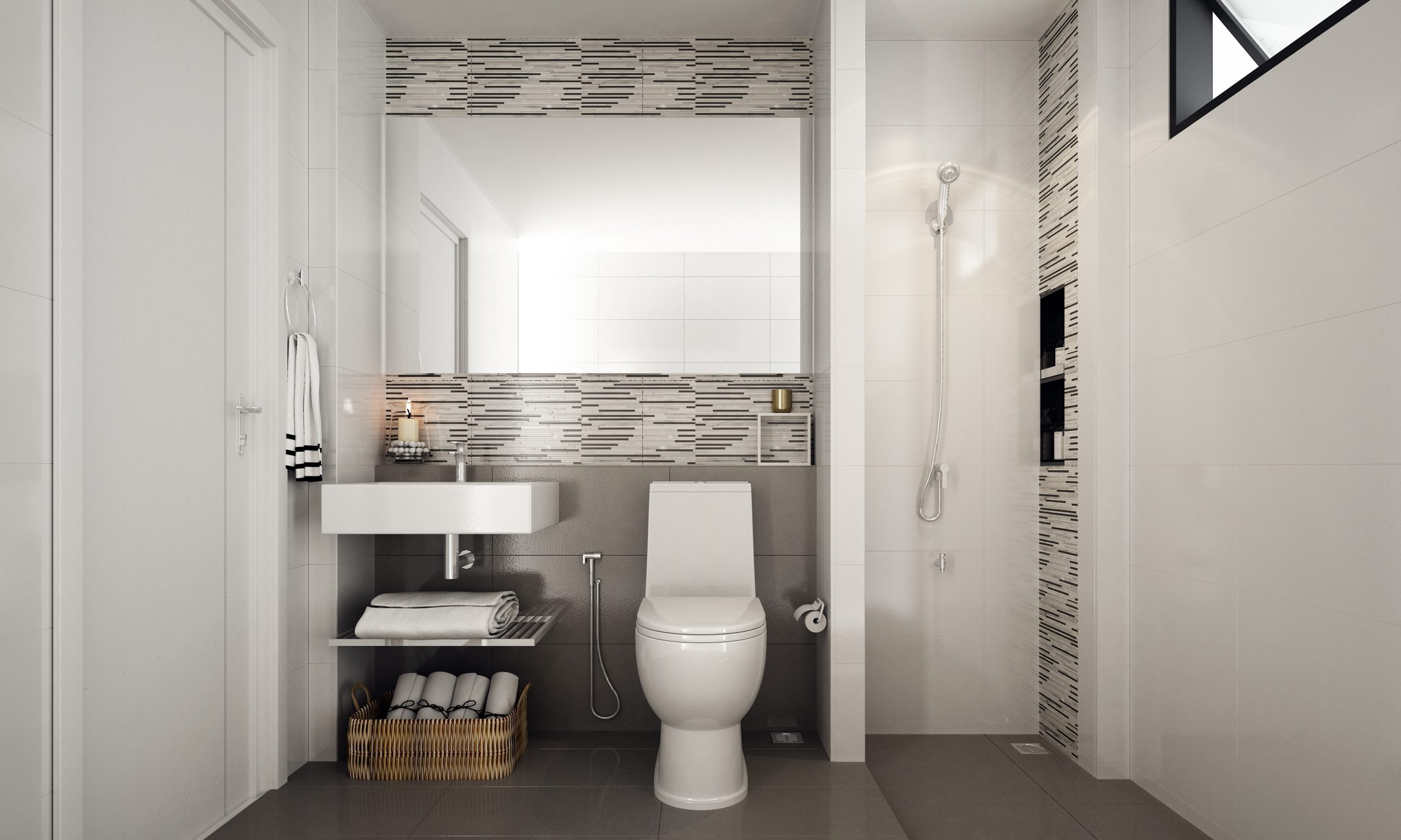 The inteior design idea of small toilet and tile pattern wall background