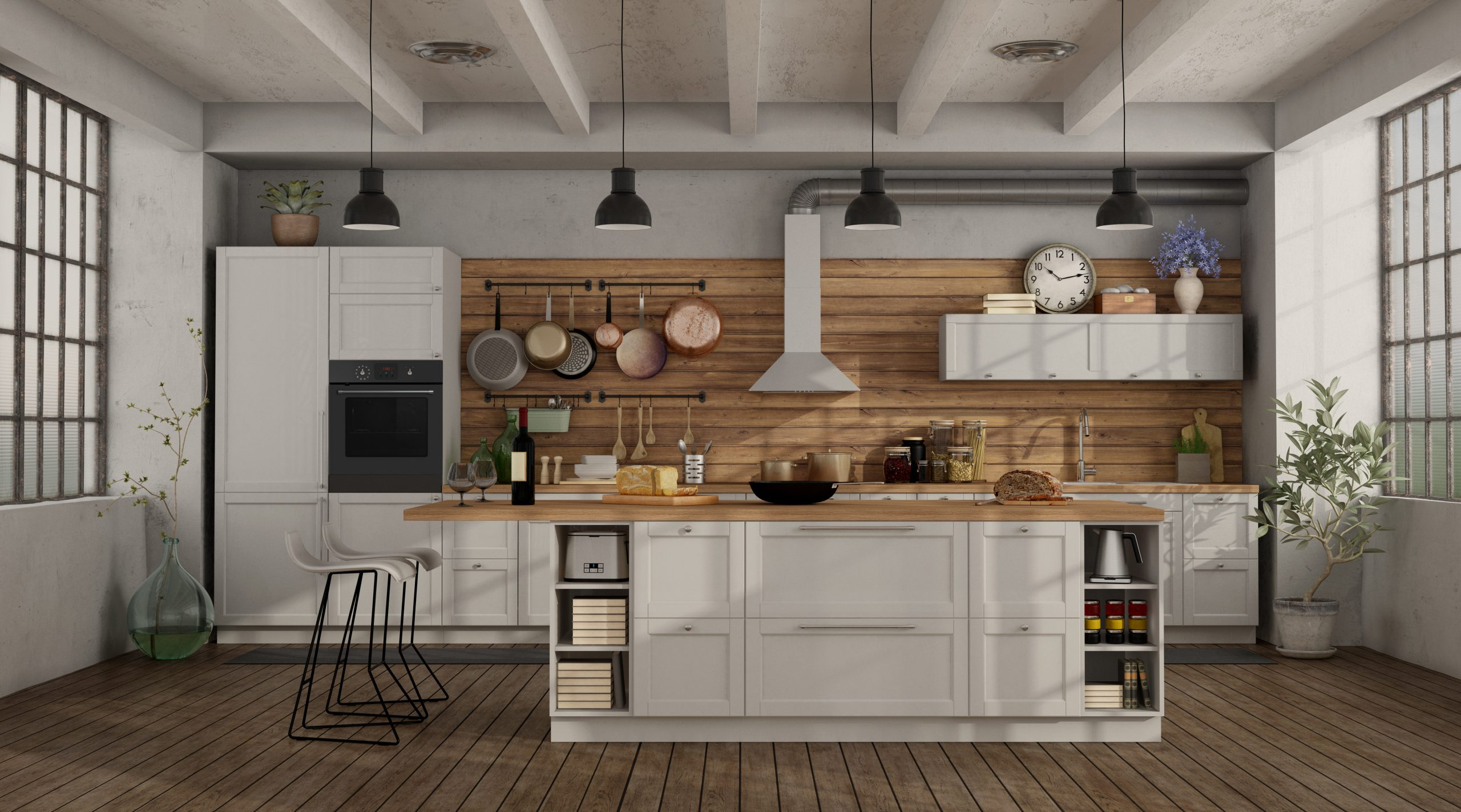 Retro white kitchen in a loft with island and barstool - 3d rendering