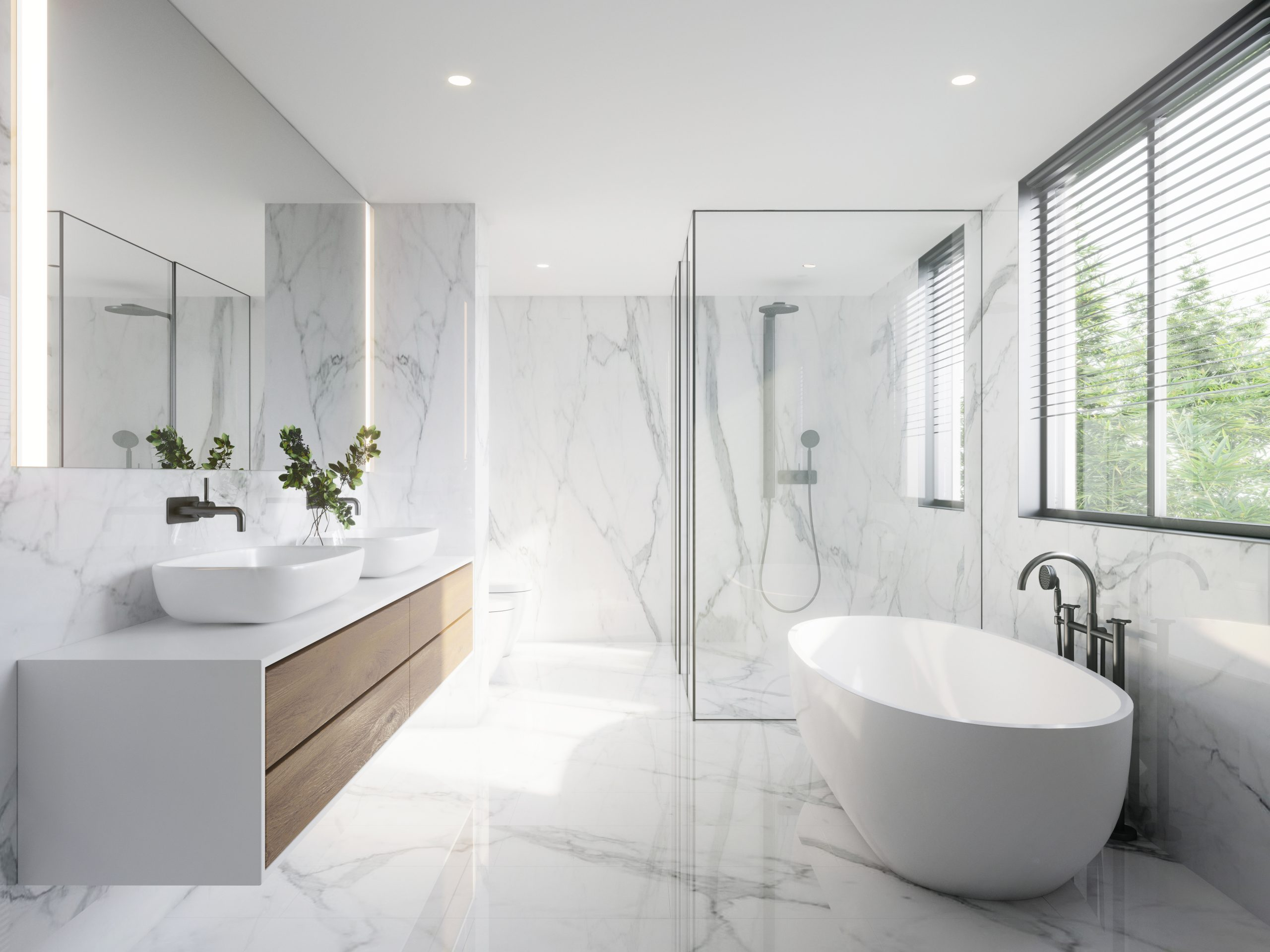 modern wite bathroom with white marble anf bthtub
